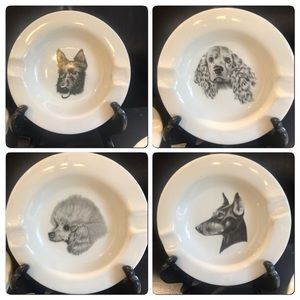 Set of 4 Vintage Dog porcelain ashtrays/plates.